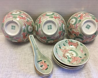 Vintage Set of Three Soup Bowls and Spoons and Dipping Saucers Hand Painted Luster