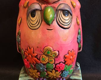 Vintage 1960s Owl Money Coin Bank Ceramic Made in Japan by OLS