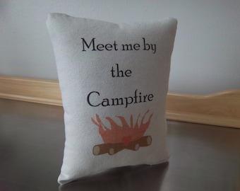 Camping pillows handmade throw pillow campfire home decor cotton canvas boyfriend gift girlfriend gift ideas fun camper decor gifts