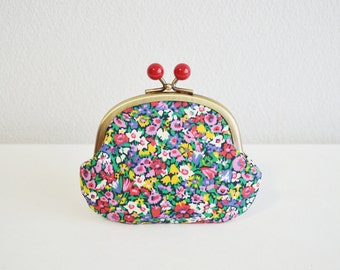 Liberty floral coin purse with red acrylic balls [306] Handmade in Japan.  - frame purse, orange and blue. Scandinavian floral.