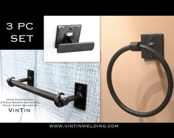 DISCOUNT 3 Piece SET of Hand Forged Iron Modern Industrial Style Based Bathroom Accessories Towel Ring, TP Holder, and Hook  by VinTin