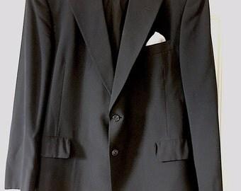 Hart Schaffner & Marx 1960s Black Linen Sport Coat 44Reg