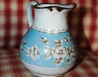 Wonderful antique enameled Milk JUG JAPY light blue & white ROSES
