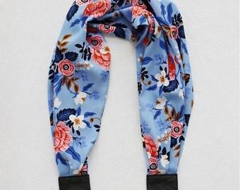 scarf camera strap light blue birch bark floral - BCSCS081
