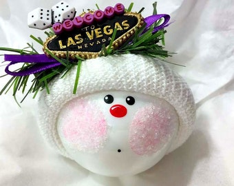 Las Vegas Souvenir Christmas Ornaments Vacation Hand Painted Handmade Personalized Themed by Townsend Custom Gifts - F