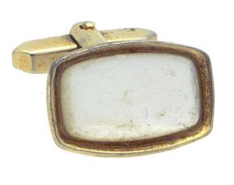 Antique/Vintage White Deco Gold tone Rectangle Cufflinks #1421