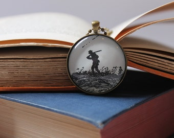 My Antonia necklace - Willa Cather book jewelry - hunting necklace gift for reader - vintage book page pendant - folk art pendant necklace
