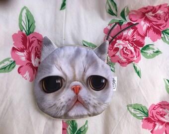 Light gray sad eyes Cat purse