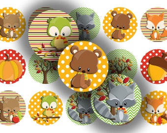 Fall Critters bottle cap images 1 inch circles digital