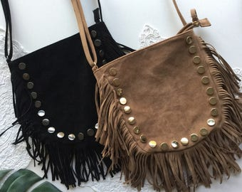 black tan brown faux suede leather vegan fringed boho studded cross body bag handbag