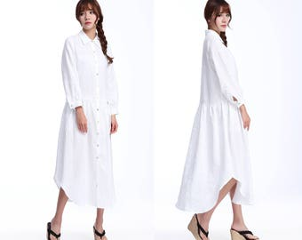 Pleated Linen Shirt Long Dress with Long  sleeves/ 24 Colors/ RAMIES