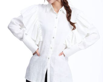 Leafy Layers Blouse with Long Sleeve/  Ruffled Linen Shirt/ 25 Colors/ RAMIES