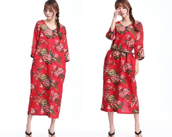 Chinese Peony /Cocoon Shape/Print Pattern/ Linen Cotton Blend Dress with 3/4 Sleeve / 2 Colors/ ANY SIZE/ RAMIES