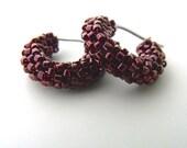 Small raspberry pink hoop earrings, woven glass beaded earrings, beaded small hoops, dark pink beaded jewelry