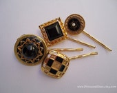 Vintage earrings hair slides - Jet onyx black gold geometric art deco unique girl upcycled fun jeweled embellish decorative hair accessories