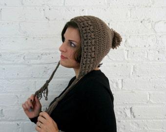 Slouchy Bonnet Hat - Slouchy Earflap Beanie - Fawn Baggy Hat
