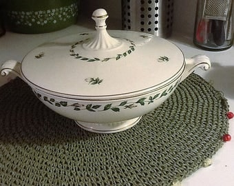 Vintage Cameo Rose Vegetable Bowl Superior Hall Quality Dinnerware Handles Covered Dish Green Leaves White Roses Replacements