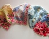 Floral Fabric Garland Bunting, Vintage Handerchiefs, Party Supplies