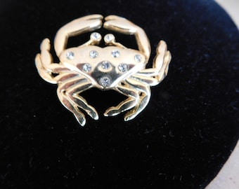 Gettin' Crabby with this Cool Pin. Cancer Sign Pin. Gold tone with rhinestones. Crab Pin. Perfect for Summer