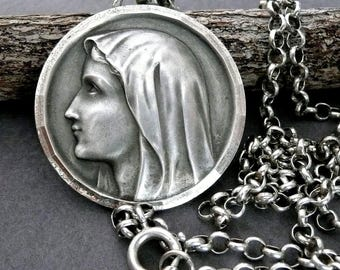 Large Vintage French Silver Virgin Mary Medal, Our Lady of Lourdes, Vintage French Silver Blessed Virgin Mary Necklace