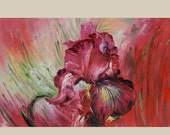 70%OFF ORIGINAL Oil Painting Colorful Flower Red Palette Knife Textured Bright ART by Marchella