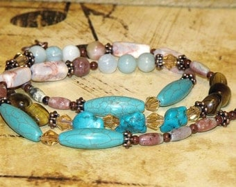 Long Bohemian Mixed Bead Necklace turquoise tigers eye amazonite boho hippie chic indie art jewelry