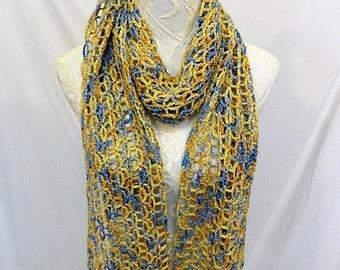 lacy gold blue yellow alpaca silk scarf wrap