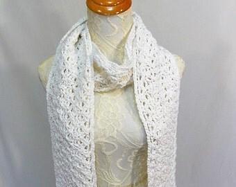 white cotton beaded scarf