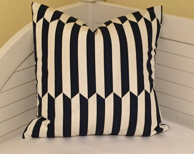 Schumacher Maxwell II in Navy (on Both Sides)  Indoor Outdoor Pillow Cover - Square, Lumbar and Euro Sizes