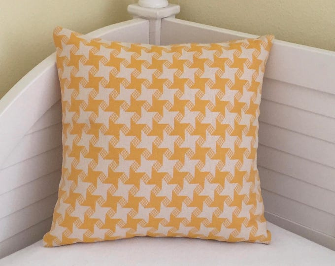 Sunflower Yellow Houndstooth Check (on Both Sides) Indoor Outdoor Pillow Cover - Square, Euro and Lumbar Sizes