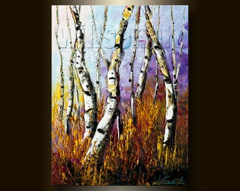 Modern Landscape Painting Autumn Birch Tree Oil on Canvas Textured Palette Knife Original Art 12X16 by Willson Lau