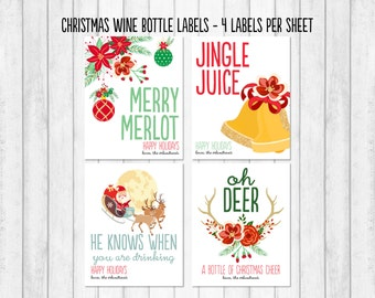 Christmas Wine Label, Holiday Wine Label, Christmas Wine Sticker, Christmas Gift, Hostess Gift, Wine Gift, Wine Bottle Label, Wine Tag