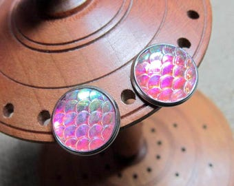 Pink & Blue Dragon Scale 14mm Stainless Steel Stud Earrings ~ Studs Posts Jewellery Jewelry