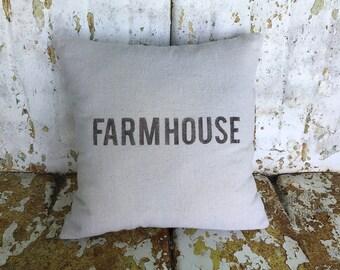 Farmhouse Pillow / Square Cotton Farmhouse Style Vintage Printed Throw Pillow Farmhouse Cottage Rustic Home Decor
