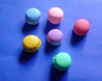 kawaii mini macaron cabochons deco diy decoden charms 6 pcs---USA seller