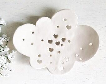 White Ceramic Soap Dish  Whimsical Cloud Dish Whimsical Bath Soap Dish Cloud Soap Dish Cloud Plate  Soap Plate Ceramic Cloud Ceramic Dish