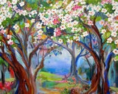 Large Plum Tree Forrest Reserved for Heather Original Painting 24 x 36 Art by Elaine Cory