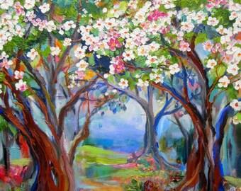 Large Plum Tree Forrest Original Painting 24 x 36 Art by Elaine Cory