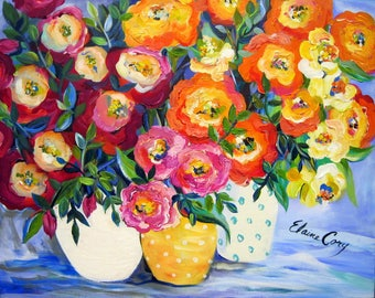 3 Vases Original Painting Still life canvas art 24 x 30 Fine art by Elaine Cory