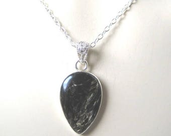 Seraphinite Black and Gold Pendant on  Sterling Silver Necklace