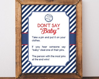 Don't Say Baby Game Sign, Baseball Baby Shower Game, Diaper Pin Game, Red White Blue, DIY Printable, INSTANT DOWNLOAD