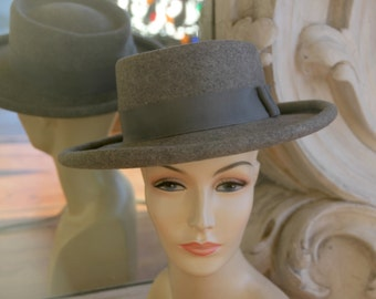 Vintage 1980s Bellini Gray Wide Brimmed Hat NOS New Old Stock