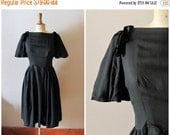 50% OFF SALE vintage 1950s cotton and velvet BOWS black dress / early 50s bell sleeves dress