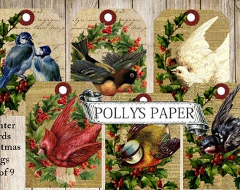 Winter Birds Christmas Tags Digital Images printable download file for Cards and Tags and Crafts Polly's Paper Studio 9 Images