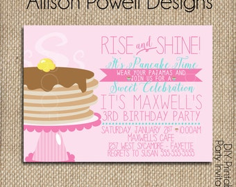Pajamas and Pancakes Birthday Invitation, Breakfast, Pajama Birthday Party Invitation - Print your own