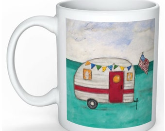 Vintage Camper Coffee Mug - Glamping and a Camping Coffee Mug - I love Camping Mug - American Flag Mug - Vintage Style Camping Mug
