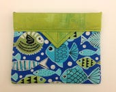 """Tropical Fish Quilted Fabric Mini Snap Bag 6"""" x 5"""""""