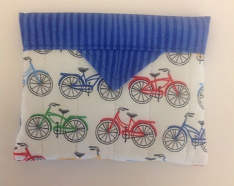 """Bicycles Quilted Fabric Mini Snap Bag Purse Pouch 5"""" X 4"""""""