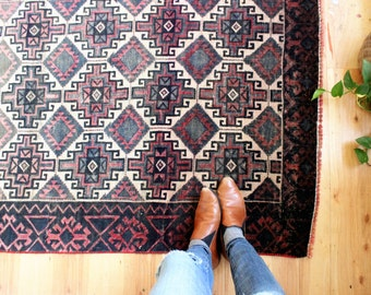 vintage Baluch runner rug, rustic and worn bohemian rug, 8.3'x 3.5'