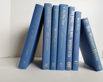 Set of 7 Air Force Blue Books with Gold Foil Lettering; Home or Wedding Decor; Instant Library; Book Display; Photo Prop